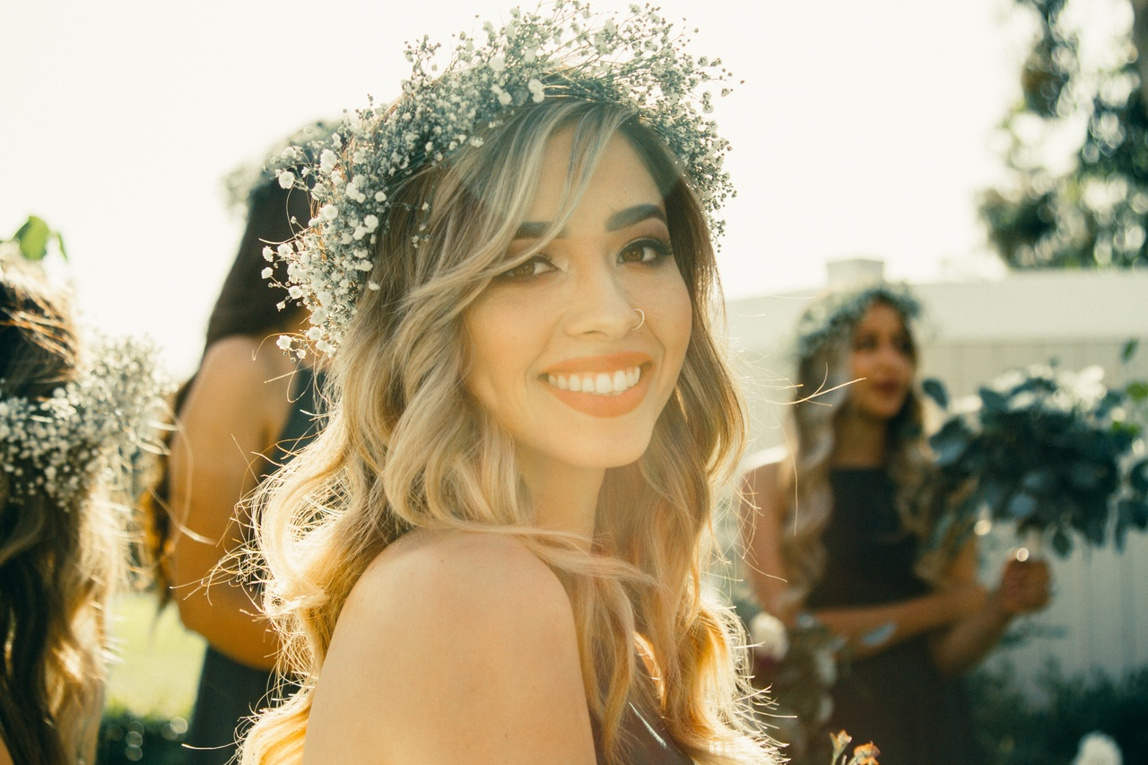 Bride with a white smile