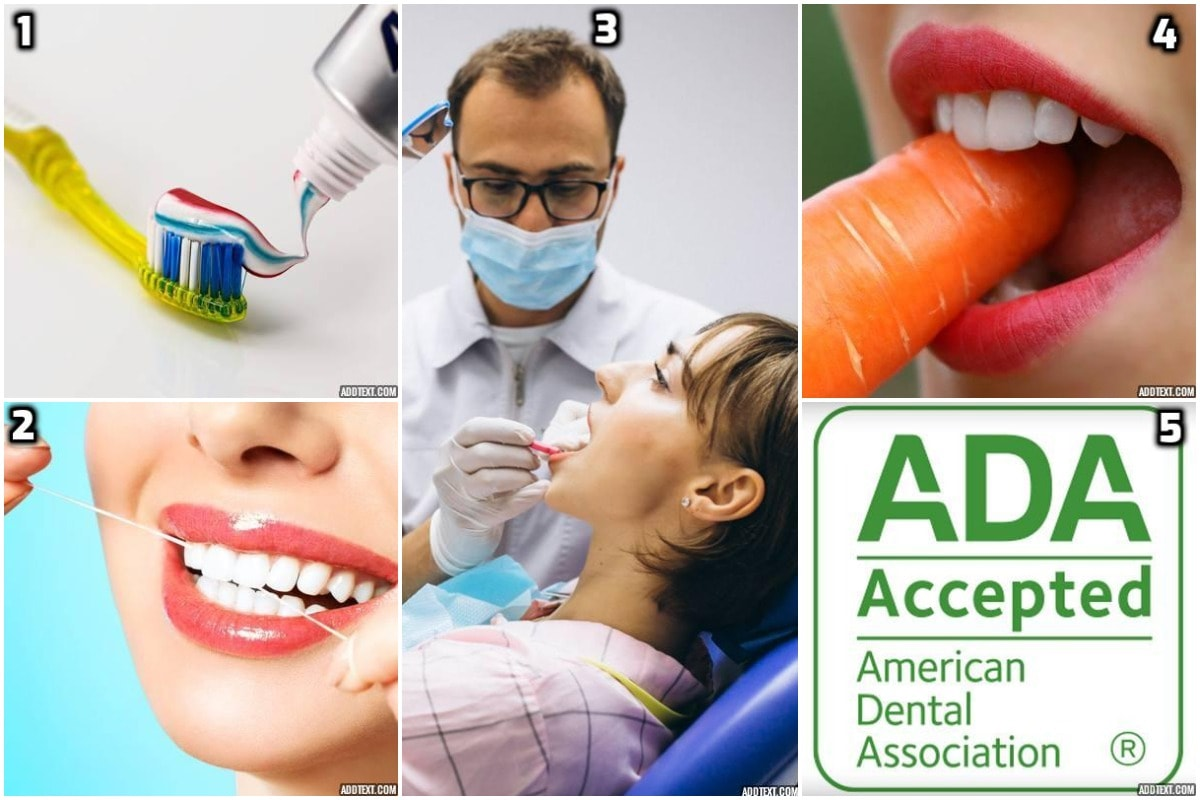 5 practices for healthy teeth - brushing, flossing, checkups, diet &good habits