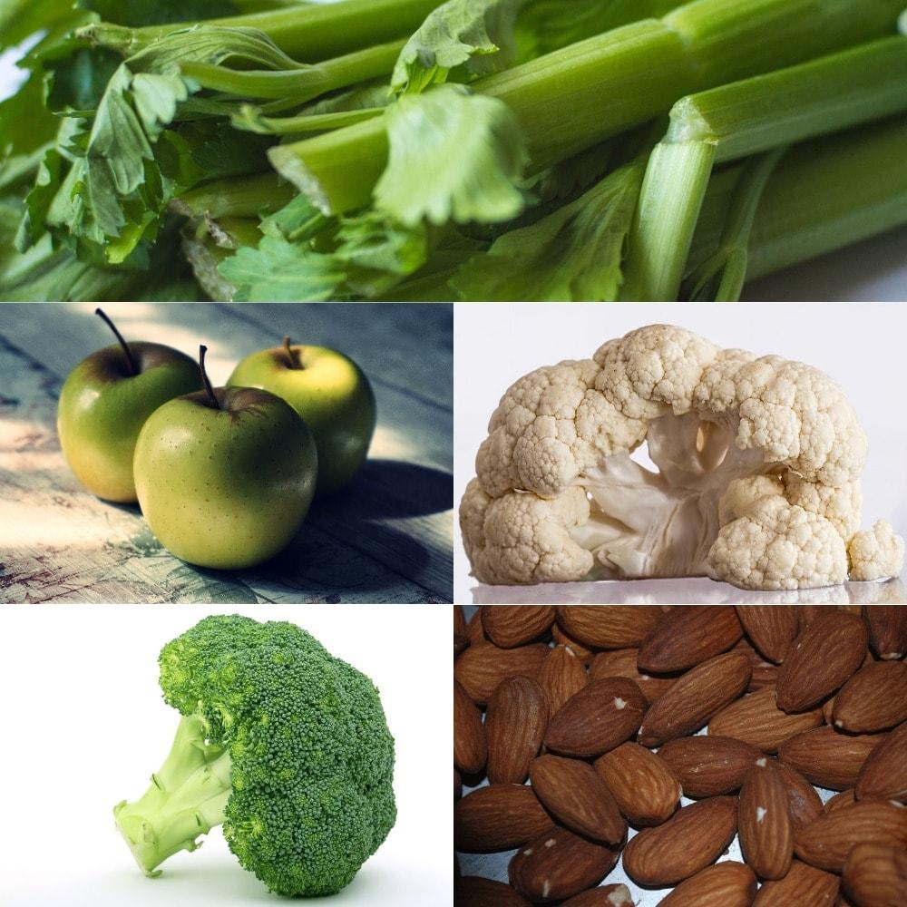 Crunchy foods that white teeth - celery, apples, cauliflower, broccoli, almonds