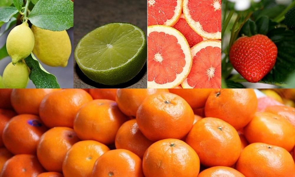Sour foods that whiten teeth - lemons, lime, grapefruit, strawberry, orange