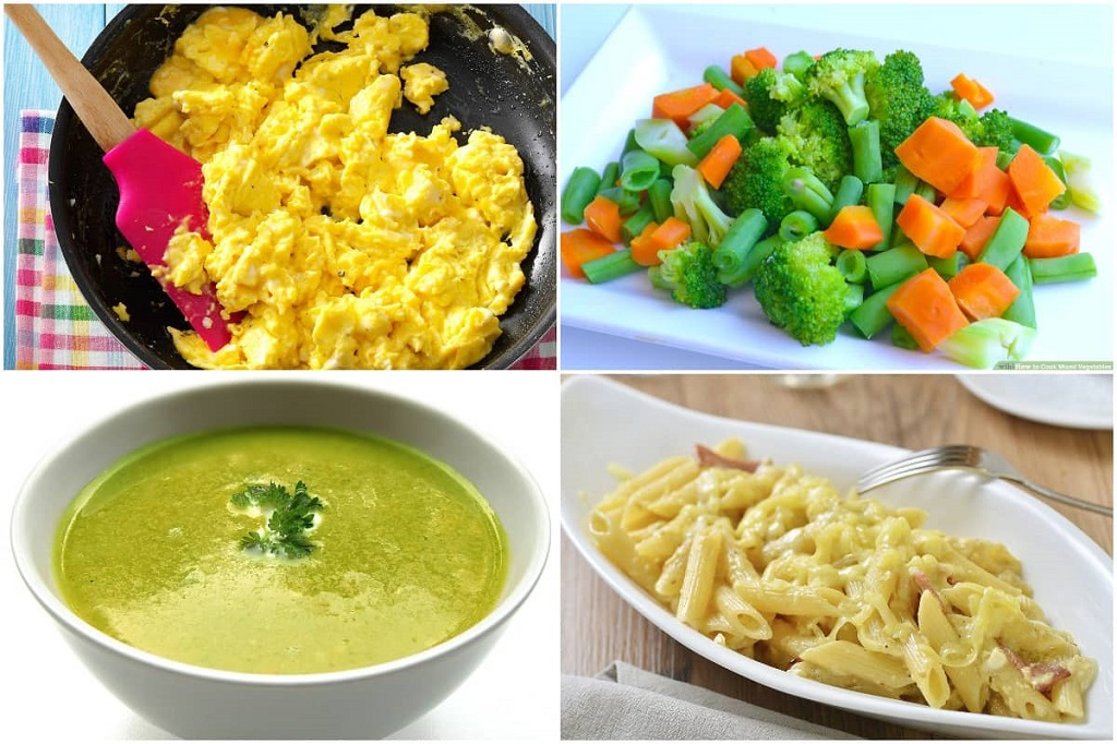 Scrambled egg. soft-boiled vegetables, blended soup, and cheese and pasta.
